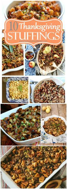 Thanksgiving stuffing recipes are almost as important for Thanksgiving dinner as the Thanksgiving turkey! Do you like cornbread dressing or a delicious apple stuffing recipe? Check out some of the BEST stuffing recipes (or dressing recipes) and try someth Stuffing Recipes For Thanksgiving, Thanksgiving Side Dishes, Holiday Recipes, Dinner Recipes, Thanksgiving Turkey, Thanksgiving Dressing, Thanksgiving Celebration, Thanksgiving Birthday, Classic Stuffing Recipe