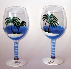 $35.95  Hand Painted Wine Glass  One of A Kind