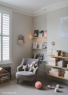 grey-girls-bedroom-interior-design-charlotte via room to bloom --- occasional chairs at cultfurniture.com