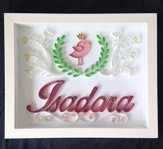 Quadro encomendado para a #isadora  30x24cm. Peça já o seu!  momoquilling@gmail.com ou inbox no facebook! #momoquilling #paperart #papercraft #quadromaternidade #portamaternidade #maedaisa #maedaisadora #gravidadaisadora #paperart #art #calligraphy