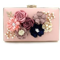 Flada Hard Case Beading Clutch Purse Bags for Women Flower Wedding... ($13) ❤ liked on Polyvore featuring bags, handbags, clutches, beaded clutches, beaded purse, beaded handbag, flower handbags and white handbags