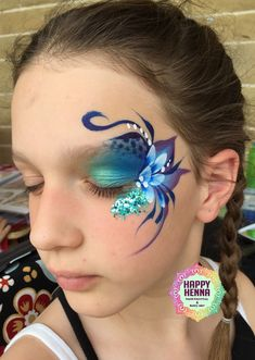 Fancy eye face paint inspired by Karen Huwen, my take on a fancy eye design painting designs Face Painting Images, Eye Face Painting, Adult Face Painting, Face Painting Tutorials, Face Painting Designs, Face Paintings, Glitter Face Paint, Blue Face Paint, Kitty Face Paint
