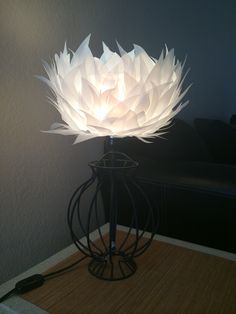 Lampshade that I made from upcycled milk jugs. :)