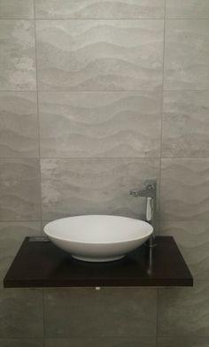 Extensive range of large porcelain tiles, mosaics and stone-effect porcelain wall tiles. Grey Bathroom Tiles, Grey Bathrooms, Wall Tiles, Tiles Texture, Bathroom Interior Design, Porcelain Tile, Floors, Wave, Sink