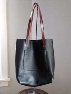 Black Moto Leather Everyday Tote  Pebbled Black by HattonHenry