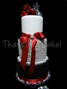 Silver, Red, Black Wedding Cake. From cake central. #winterweddingcake #red #winterwedding
