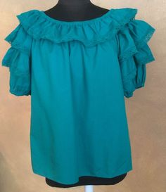 MALCO MODES TEAL LACE TRIMMED RUFFLED PEASANT SQUARE DANCE BLOUSE LARGE  #MalcoModes