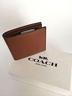 39572bab1be8c Coach Double Bill Sport Calf Leather Men s Wallet Dark Saddle New W Box  F75084