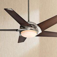 """54"""" Casablanca Stealth Nickel Walnut Finish LED Ceiling Fan"""