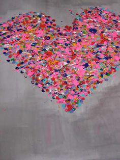 hart van spetters acrylverf
