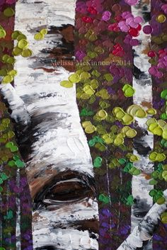 "MELISSA MCKINNON Contemporary Abstract Landscape Artist features BIG COLOURFUL PAINTINGS of Aspen & Birch Trees, Rocky Mountains and stunning views of the Canadian prairies, big skies and ocean beaches. Western Art. ""A Gentle Influence"" 36""x36"" (Detail Image of colourful autumn leaves, tree trunk and impasto paint texture)"