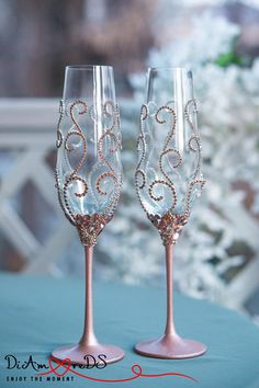 Attention, please do not buy if you have a wedding in April 2018. Rose Gold and Crystal Wedding Glasses, Champagne Flutes, Rose Gold Wedding, Wedding Toasting Glasses, Bride and Groom Champagne Glasses, Set Rose Gold Personalized Crystal Wedding Glasses for Bride and Groom will give the