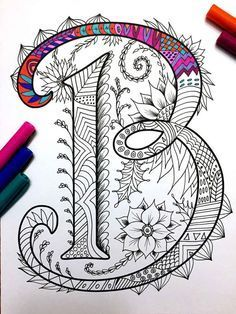 Decorative typography and hand lettering // Letter B Zentangle Inspired by the font Harrington by DJPenscript Doodles Zentangles, Zentangle Patterns, Zen Doodle, Doodle Art, Coloring Books, Coloring Pages, Doodle Lettering, Doodle Drawings, Letter Art