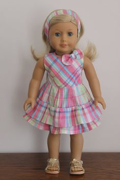 American Girl Doll Spring Summer plaid dress by dollpetitecouture, $30.00