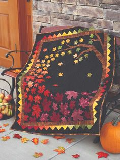 Get ready for autumn with this cute harvest table runner. This fall table decoration features patchwork pumpkins, appliqued stems and leaves and just a touch of Halloween Quilts, Halloween Quilt Patterns, Quilt Block Patterns, Quilt Blocks, Tree Quilt Pattern, Fall Quilts, Quilted Wall Hangings, Mini Quilts, Vintage Quilts