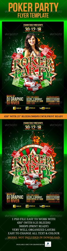 Poker Party Flyer Template, this is an advanced psd flyer that promotes your upcoming event or club parties perfectly.