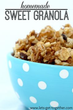 Homemade Sweet Granola-the BEST sweet snack. Easy treat for the kids! www.lets-get-together.com #granola #recipe #snack