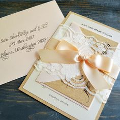 LYNZEE - Burlap & Lace Wedding Invitation - Blush, Ivory, and Kraft - Rustic Country Invitation with Ivory Lace Wrap - Lace Belly Band