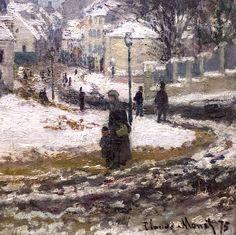 """Claude Monet (1840-1926) """"L'entrée de la Grande-Rue à Argenteuil, l'hiver"""", dét. (1875)"""