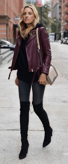 Lisa D Cahue + leather jacket trend + simple hoodie + add endless glamour + dress up the simplest of styles. Sweater: LPA, Jacket: IRO, Jeans: Zara, Boots: Stuart Weitzman, Bag: Chanel.