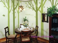 forest:wall decals, nature wall decals, children wall decals,vinyl wall decal, wall stickers, birch tree wall decal, nursery wall stickers. $99.00, via Etsy.