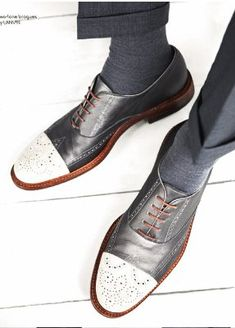 New Handmade Two Tone Black & White Real Leather Brogue Shoes, Men leather Shoes - Dress/Formal Sock Shoes, Men's Shoes, Shoe Boots, Dress Shoes, Shoes Men, Male Shoes, Leather Brogues, Leather Men, Leather Shoes