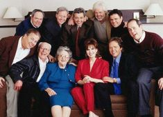The Osmond family. Back row: Tom, Wayne, Jay, Merrill and Donny. Front row:  Alan, George, Olive, Marie, Jimmy and Virl