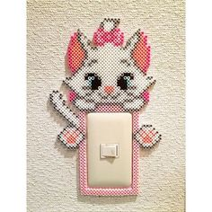 Marie Aristocats light switch cover perler beads by tsubasa. Hama Beads Disney, Diy Perler Beads, Perler Bead Art, Pearler Bead Patterns, Perler Patterns, Art Perle, Pixel Beads, Motifs Perler, 8bit Art