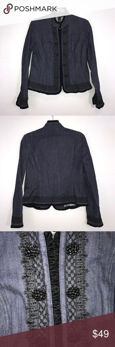 "INC International Concepts Jean Woman's Jacket M INC International Concepts blue Jean / denim, woman's Blazer / jacket. Has black Velvet and Lace trim, along with gorgeous buttons. Details go from collar to hem. Hidden hook closures. Lying flat, approximate measurements are: bust 21""; waist 18""; hip 20""; length 22"".  (M02-11))    🌼 No holes, piling or stains. Items stored in smoke free, pet free, perfume free environment. No trades or modeling. Same or next day shipping.  Save by bundling…"