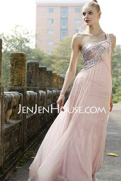A-Line/Princess One-Shoulder Floor-Length Chiffon  Charmeuse Prom Dresses With Ruffle  Beading (018004824)