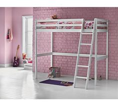 Buy Argos Home Kaycie Pine High Sleeper Single Bed Frame Bed Frame With Storage, Bed Storage, White Kids Bed, High Sleeper Bed, High Beds, Childrens Beds, White Bedding, Bed Sizes, My New Room