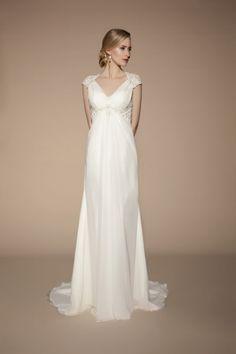 Brush Train Chiffon Empire Queen Anne A-line Full Back Wedding Dress - Shedressing.com