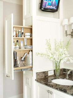Great storage ideas for our tiny bathroom.