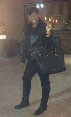 Like wearing All black, you should see my closet!   Leggings: Tj maxx  Knee high boots: rack room  Purse: Liz Claiborne; jc penny  Leather jacket: Jessica Simpson; Dillard's  Shirt: Dillard's  Head scarf: infinity scarf: jc penny  Jewelry: the Dress Barn