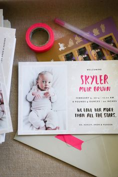 birth announcements on Hither & Thither | design by Sycamore Street Press #birthannouncement #card #stationary
