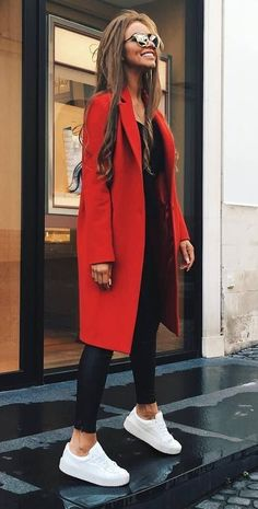 #Winter #Outfits / White Sneakers - Red Coat