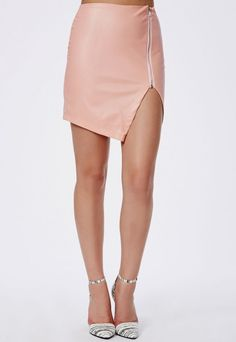 dusky pink faux leather asymmetric zip detail mini skirt @ missguided