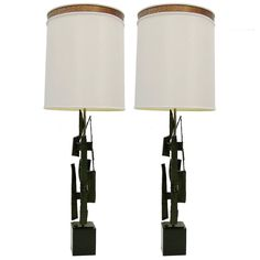 Pair of Brutalist Torch Cut Table Lamps by Harry Balmer for Laurel | See more antique and modern Table Lamps at https://www.1stdibs.com/furniture/lighting/table-lamps