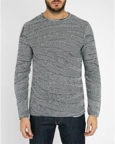 Armani Jeans | Gray Navy Graphic Knit Cotton Round Polo-neck Sweater for Men | Lyst