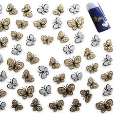 Beauty Glitter Gold Sliver Color Butterfly Design 3D Nail Sticker Art Stickers Decorations Nailart Make Up Free Shipping