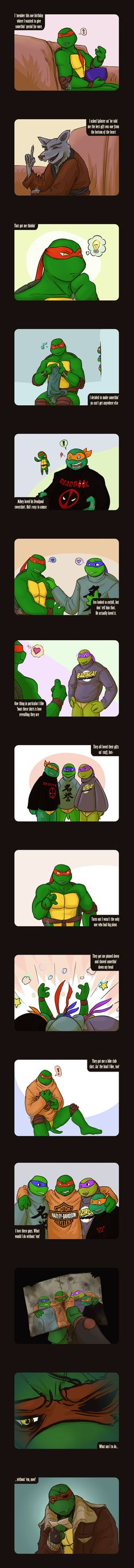 "TMNT Raphaels Presents Extension by Dragona15 on deviantART  At first I was like ""Aw, how sweet."" And then I got to the last few panels... T.T Oh Raph..."