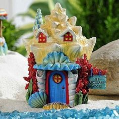 Coral House www.teeliesfairygarden.com . . . Bring home this wonderful fairy garden coral house and give your fairies a wonderful haven in your mermaid garden themed! Have it in your garden today! #fairyhouse