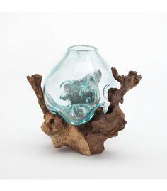 Mini Molten Glass Vase over Driftwood