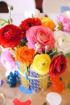 Love this flower candy arrangement via Kara's Party Ideas Kara Allen KarasPartyIdeas.com