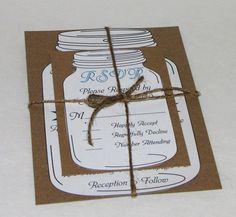 Rustic Mason Jar Wedding Invitation Suite