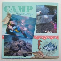 """By the Tide 8x8"""" scrapbook page - snorkeling"""