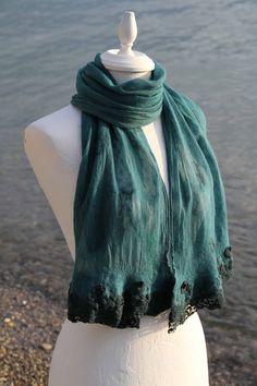 Felt shawl with lace Shawl, Creations, Felt, Lace, Fashion, Moda, Felting, Fashion Styles, Feltro
