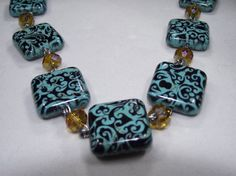 Square Patern bead with yellow/beige crystals by IroquoisDreams