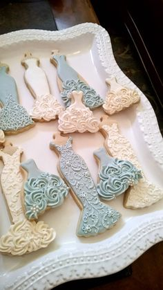 Blue and White Wedding Entourage Dress Cookies- 10  Bridal Shower Cookies, Wedding Giveaway, Winter Wedding, Bridesmaid Gifts