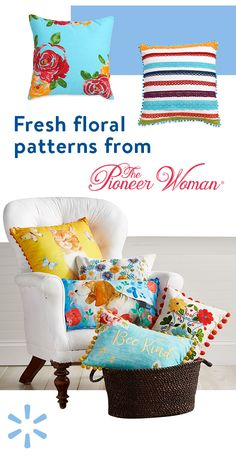 Introduce some festive flair to your home with decorative pillows from The Pioneer Woman. The Pioneer Woman's signature country-chic style encourages mixing and matching for an eclectic down-home look that complements your individual tastes. Pioneer Woman Kitchen, Pillow Fight, Chic Bathrooms, Quilted Pillow, Country Chic, Bohemian Decor, Farmhouse Decor, Decorative Pillows, Sewing Projects